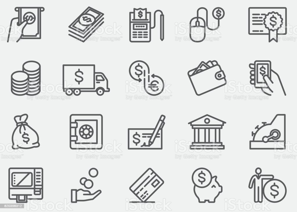 Money And Payment Line Icons vector art illustration