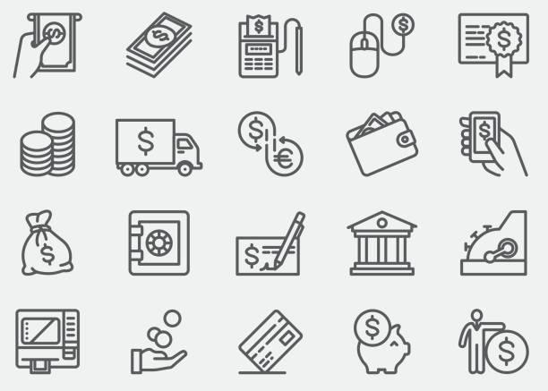 illustrations, cliparts, dessins animés et icônes de argent et paiement ligne icônes - tirelire