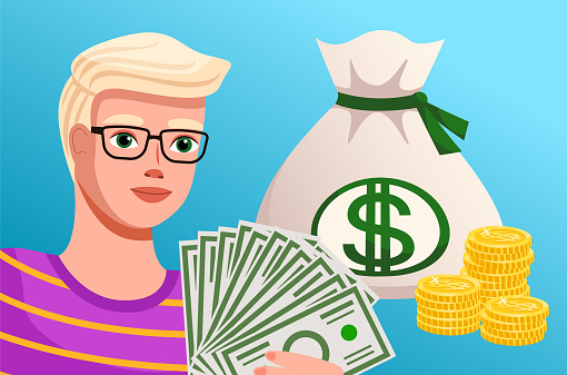 Money and savings concept. Financial plan of a young man. Cartoon guy holding a lot of banknotes