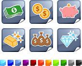 Money and wealth  six sticker set