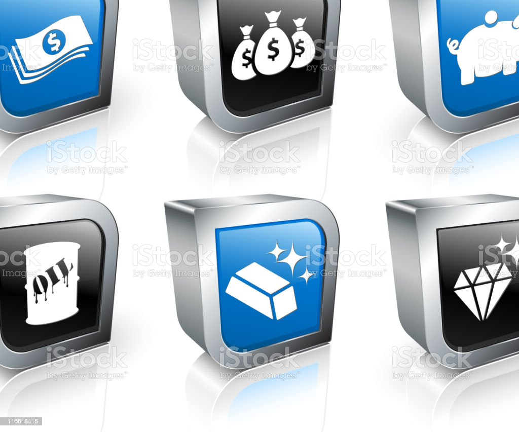 Money and wealth square royalty free vector icon set royalty-free stock vector art