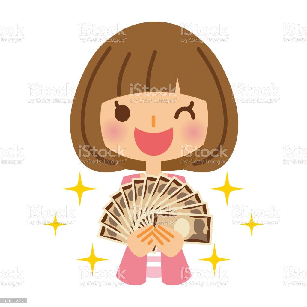 Money and women. vector art illustration