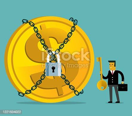 istock Money are lock - Businessman 1221534022