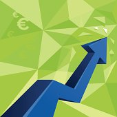 Money arrow graph, euro sign - rising chart