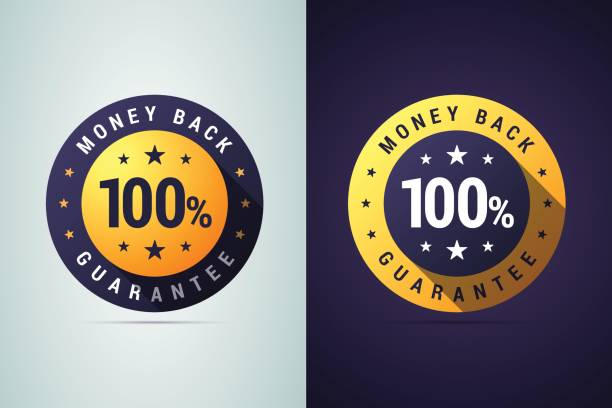 money back guarantee badge. - płacić stock illustrations
