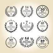 Vector of 7, 14, 30 and 60 days grey color 100% Money back guarantee emblem set with light brown background. EPS ai 10 file format.