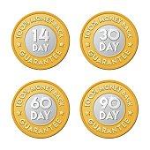 Money back guarantee golden silver coin icon set. 90, 30, 60, 14 day shop return logo.