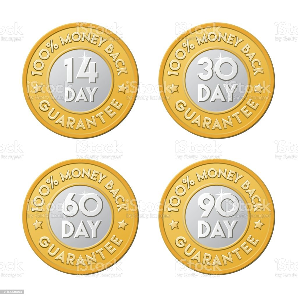Money back guarantee golden silver coin icon set. 90, 30, 60, 14 day shop return logo. vector art illustration