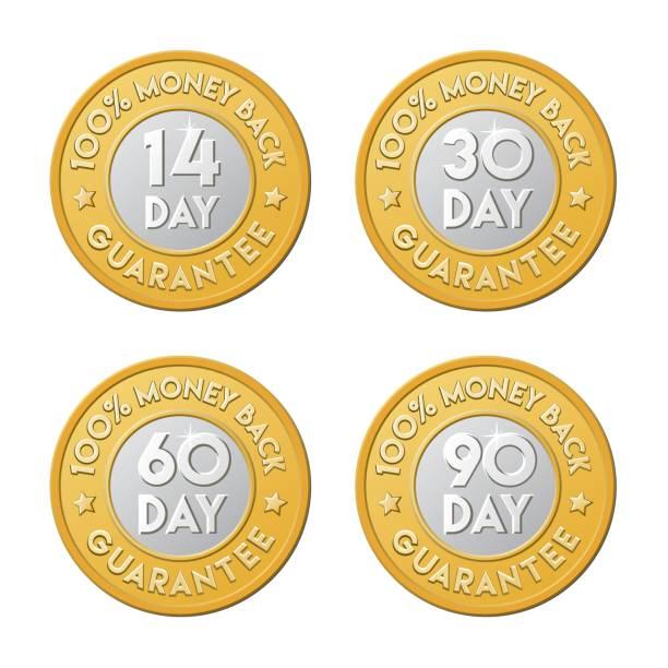 Money back guarantee golden silver coin icon set. 90, 30, 60, 14 day shop return logo. vector art illustration