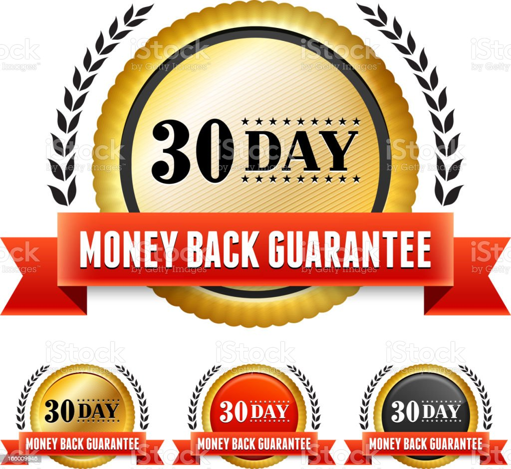 Money Back Guarantee Red and Yellow Badge Set royalty-free money back guarantee red and yellow badge set stock vector art & more images of advertisement