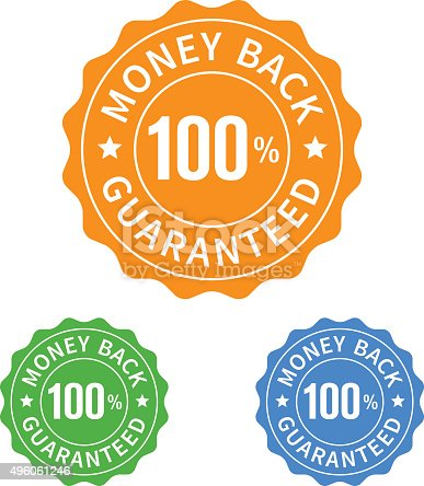 istock 100% money back guarantee seal or stamp flat icon 496061246