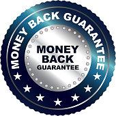 Money back guarantee silver luxury badge label.