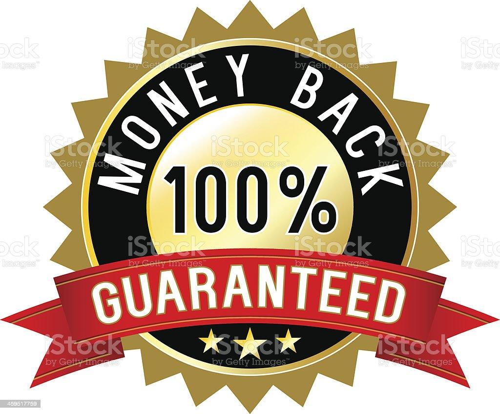 Money back guaranteed label royalty-free stock vector art