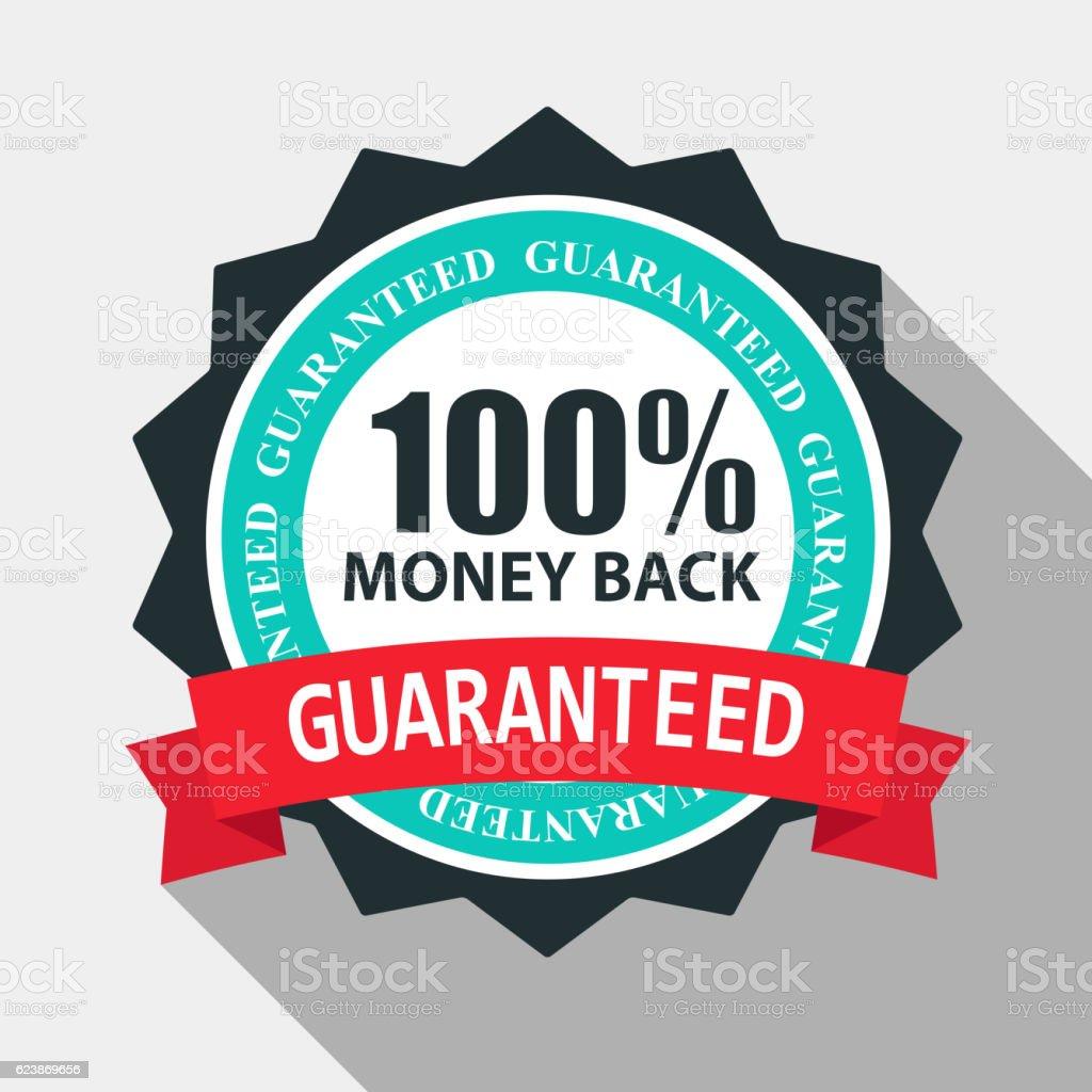 Money Back Quality Label Sign in Flat Modern Design with vector art illustration