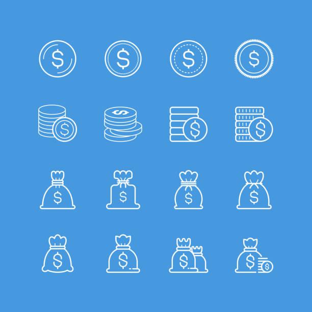 Money bag and coin icons Money bag and coin icons, vector illustration. millionnaire stock illustrations