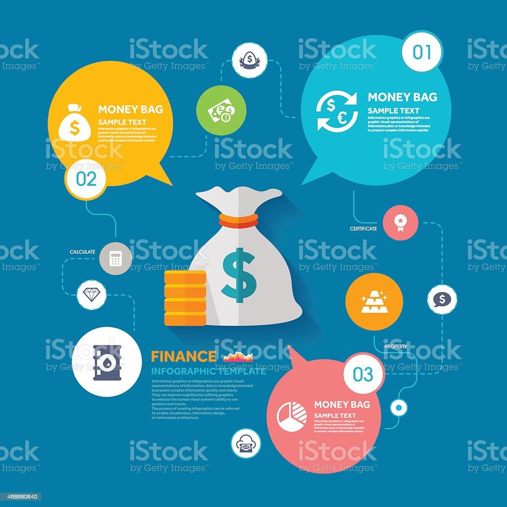 Money bag and Finance infographic template vector art illustration