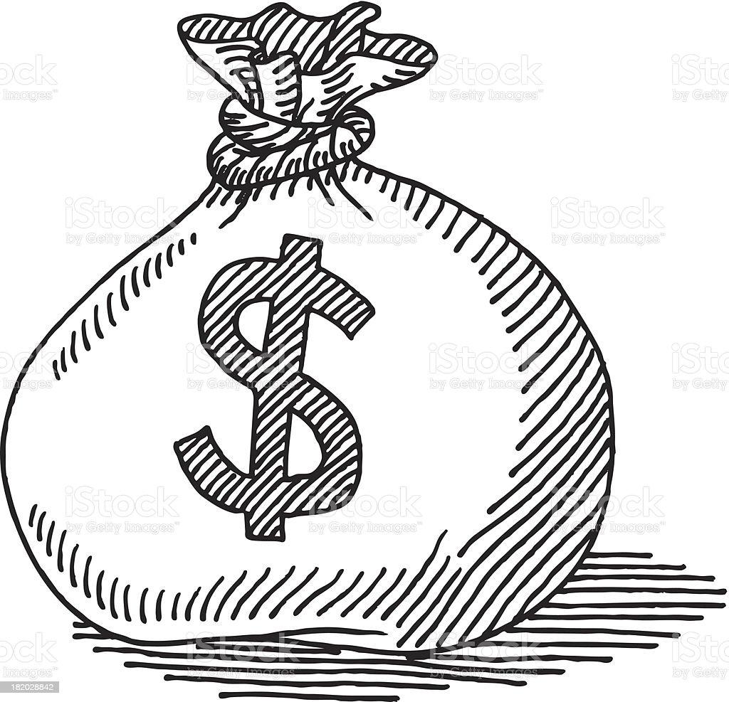 Money Bag Dollar Sign Drawing vector art illustration