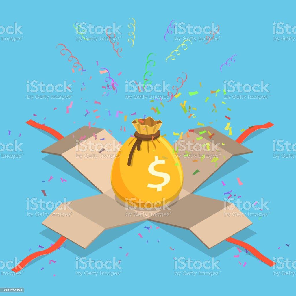 Geld Tasche flach isometrische Vektor-Konzept – Vektorgrafik