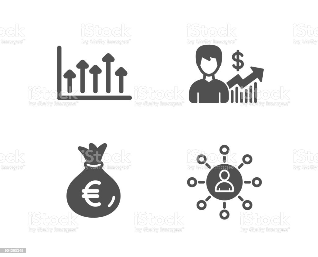 Money bag, Growth chart and Business growth icons. Networking sign. - Royalty-free Analyzing stock vector