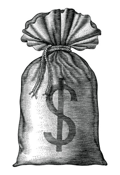 Money bag hand draw vintage engraving isolated on white background Money bag hand draw vintage engraving isolated on white background banking drawings stock illustrations