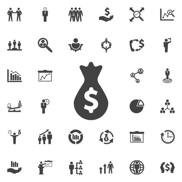 geld-beutel-symbol. - geldstrafe stock-grafiken, -clipart, -cartoons und -symbole