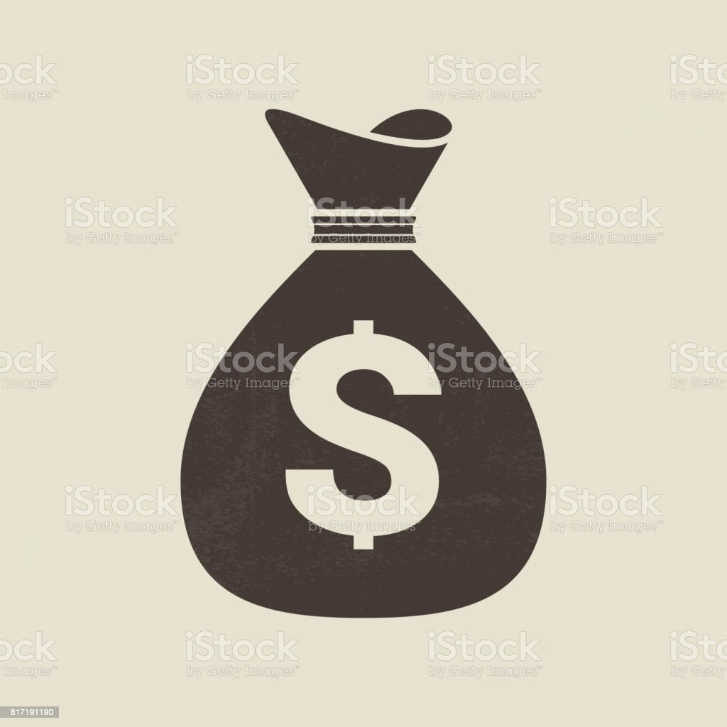 Money bag icon vector art illustration