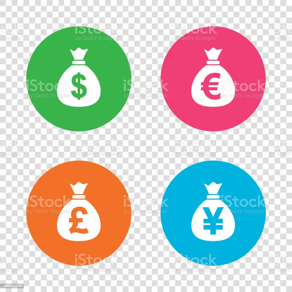 Money bag icons. Dollar, Euro, Pound and Yen. vector art illustration