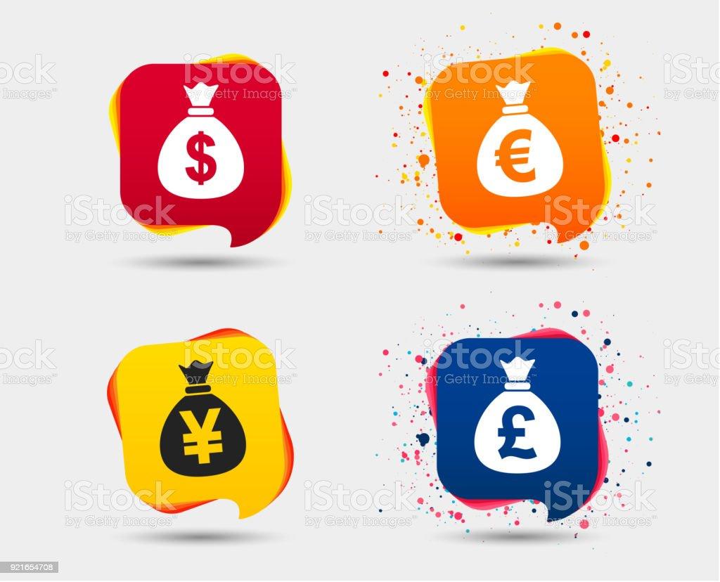 Money bag icons. Dollar, Euro, Pound and Yen. vector art illustration