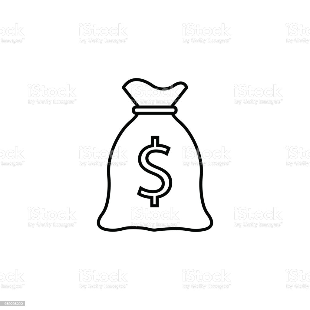 Line Drawing Money : Money bag line icon finance and business stock vector art