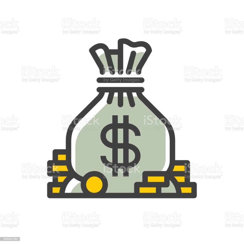 Money bag line icon vector art illustration