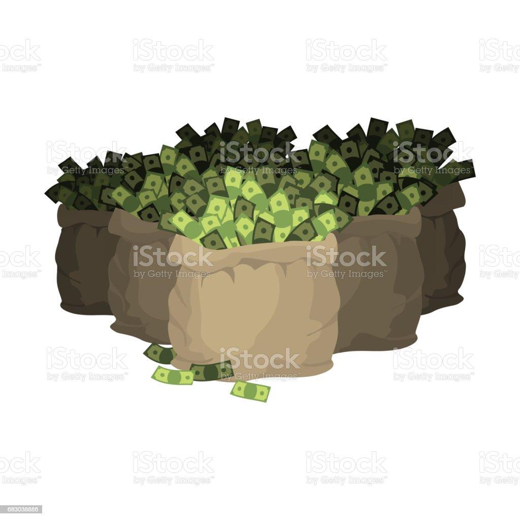 Money bag. Many sackful of cash. Wealth. Sack Dollars money bag many sackful of cash wealth sack dollars - arte vetorial de stock e mais imagens de amontoar royalty-free