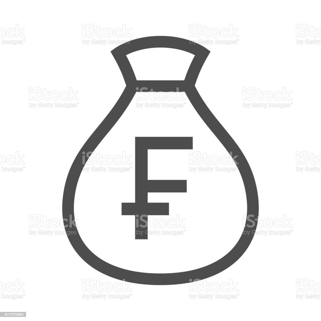 Money bag outline simple design icon.  Swiss franc moneybag icon. vector art illustration
