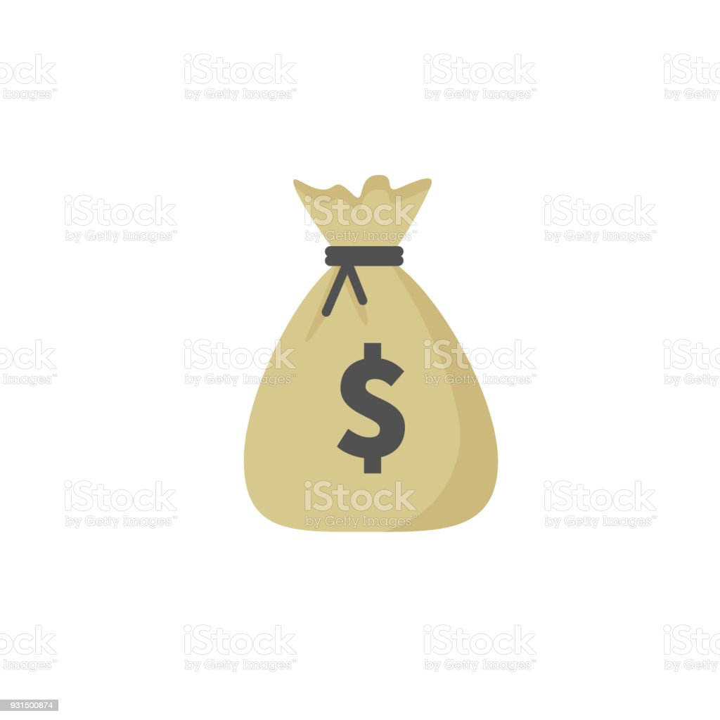 Money bag vector icon, moneybag and dollar sign isolated on white background, Vector illustration. vector art illustration