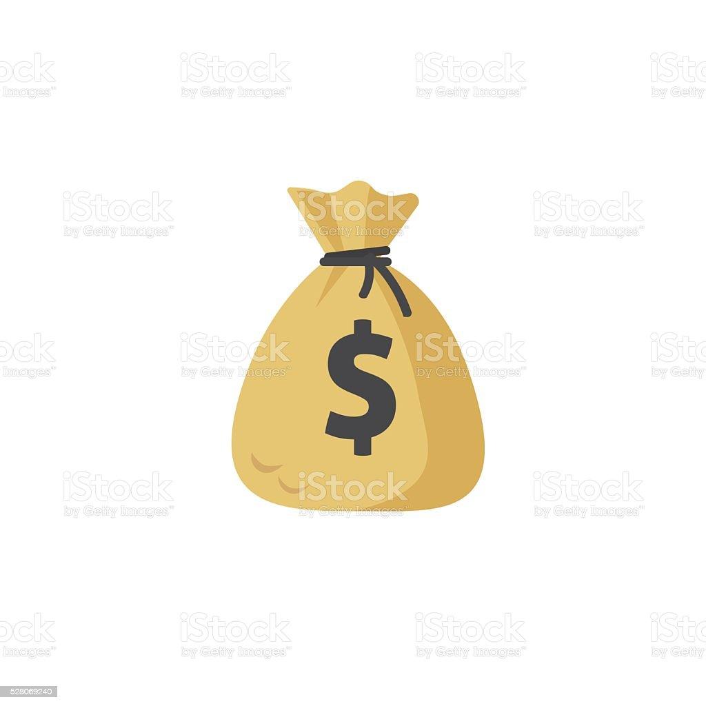 Geldsack Vektor symbol, geldtasche flache Cartoon-Abbildung isoliert, – Vektorgrafik