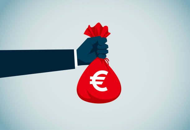 Money Bag Illustration and Painting european union currency stock illustrations