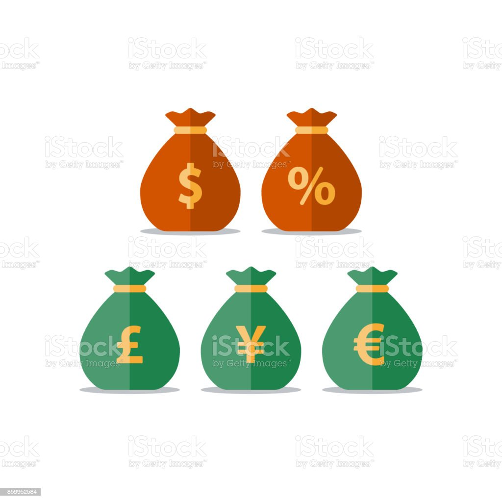 Money bags, dollar pound yen euro sign, currency exchange, savings and investment, financial solution vector art illustration