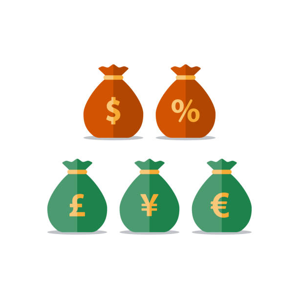 Money bags, dollar pound yen euro sign, currency exchange, savings and investment, financial solution Pound, yen, euro currency, dollar money bag, interest rate percentage sign, business and finance, return on investment, financial solution, prepayment and down payment concept, income tax, vector icon japanese currency stock illustrations