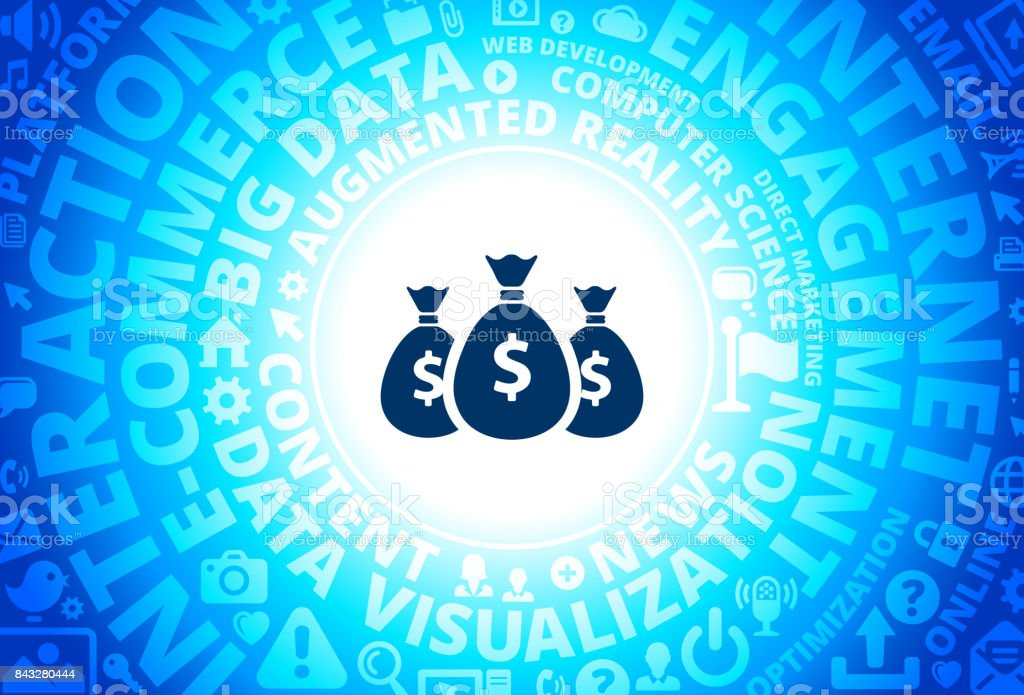 Money Bags Icon on Internet Modern Technology Words Background vector art illustration