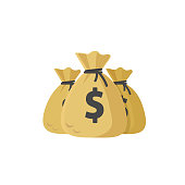 Money bags vector illustration, flat cartoon bags or dollar cash, idea of big grant or credit, success wealth or financial income, earnings profit isolated clipart