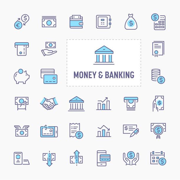 illustrations, cliparts, dessins animés et icônes de argent & bancaire icon set - inflation