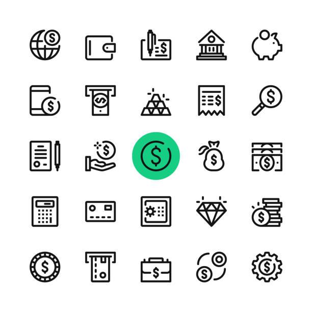 illustrations, cliparts, dessins animés et icônes de argent, banque de jeu d'icônes de ligne. concepts de design graphique moderne, collection elements contour simple. 32 x 32 px. pixel perfect. icônes de vecteur ligne - tirelire
