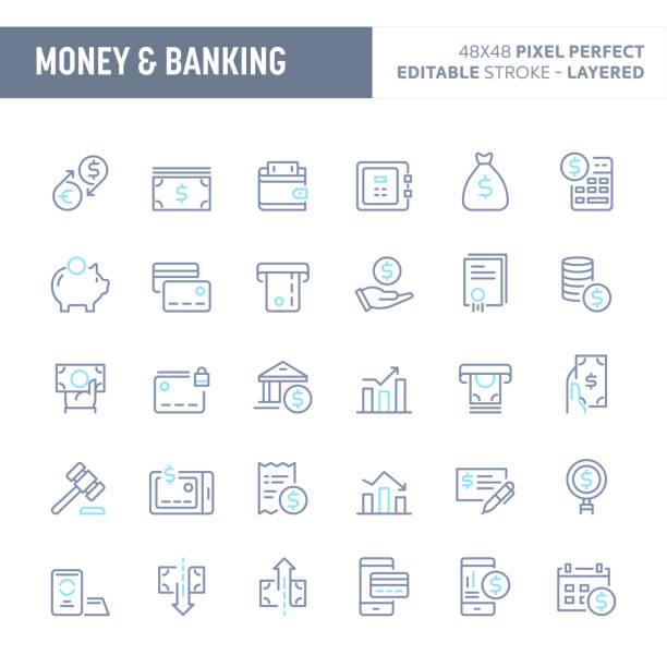 illustrations, cliparts, dessins animés et icônes de argent & bancaire minimale vector icon set (10 pi) - inflation