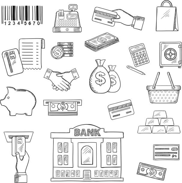 Money, banking services, shopping sketch symbols Money, banking services and shopping sketch symbols for business, finance and retail theme design with dollar bills and coins, piggy bank, credit bank cards, atm, money bags, calculator, safe, gold bars, handshake, bank, shopping basket and bag, barcode, cash register and bank check banking drawings stock illustrations