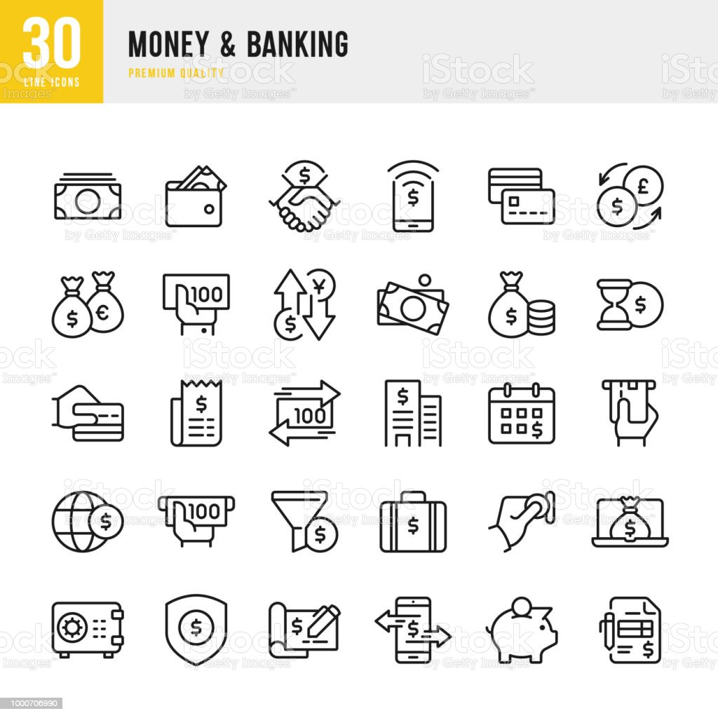Money & Banking - set of line vector icons Set of 30 Money & Banking thin line vector icons ATM stock vector