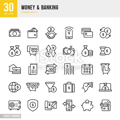 Set of 30 Money & Banking thin line vector icons