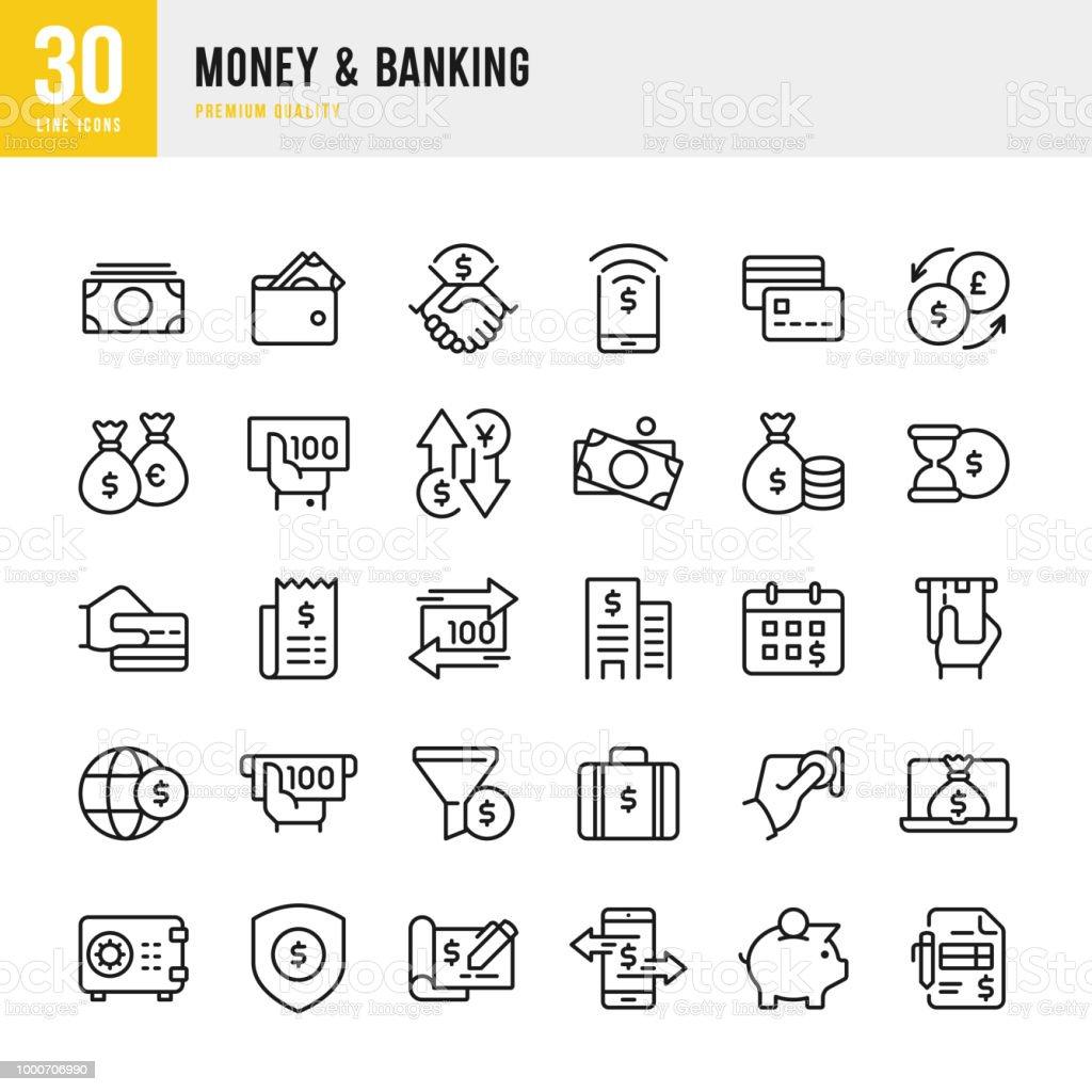 Money & Banking - set of line vector icons vector art illustration