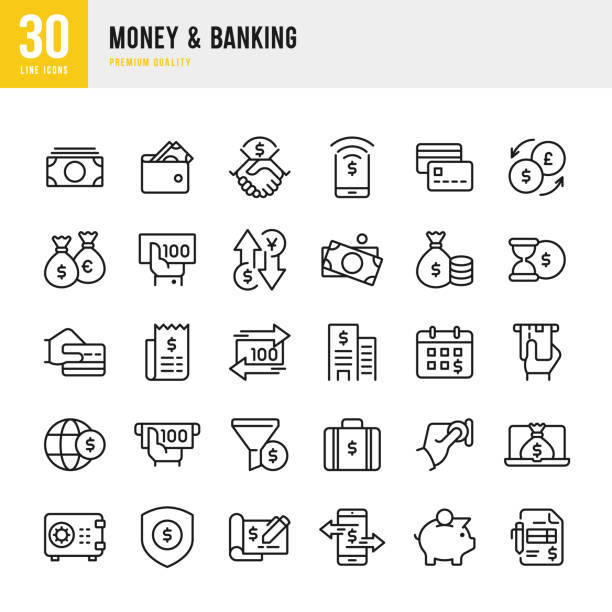 stockillustraties, clipart, cartoons en iconen met geld & banking - lijn vector icons set - schuld