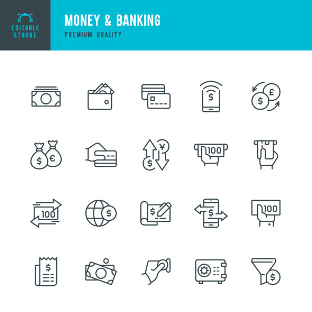 Money & Banking - set of line vector icons Set of 20 Money & Banking thin line vector icons safety deposit box stock illustrations