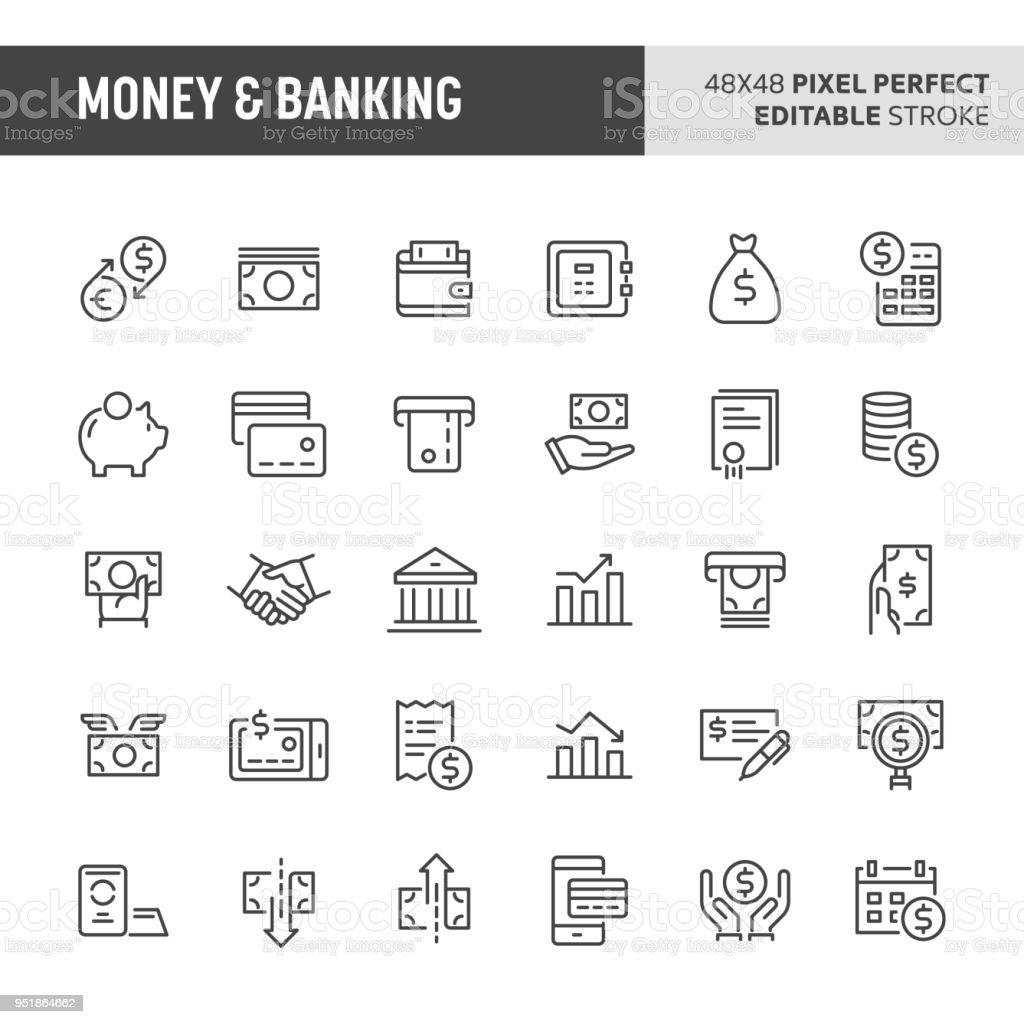 Money & Banking Vector Icon Set vector art illustration