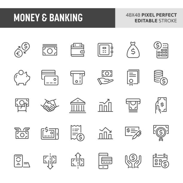 money & banking vector icon set - bank stock illustrations